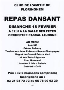 REPAS DANSANT CLUB DE L'AMITIE DE FLORINGHEM