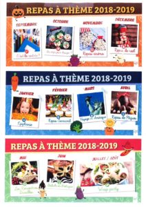 CANTINE : REPAS A THÈME 2018 – 2019