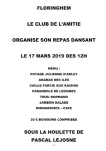 REPAS DANSANT CLUB DE         L'AMITIÉ