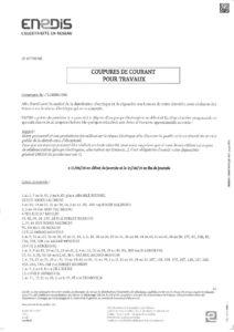 COUPURE DE COURANT LES 11 ET 14 JUIN 2019